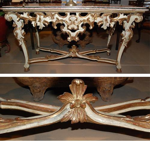An 18th Century Italian Polychrome and Parcel-Gilt Rococo Console No. 1649