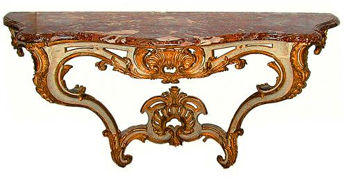 An 18th Century French Louis XV Parcel-Gilt and Polychrome Wall Console No. 533