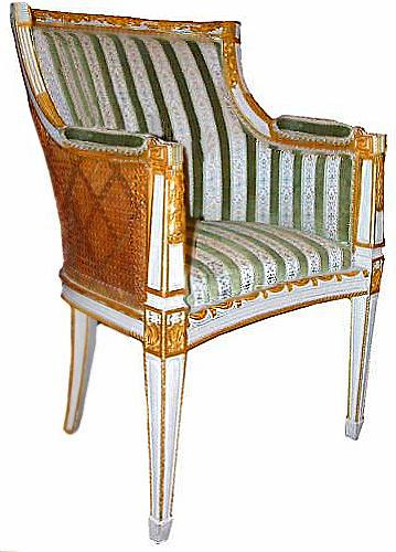 An Elegant 18th Century Italian Louis XVI Parcel Gilt and Polychrome Boudoir Chair No. 2552