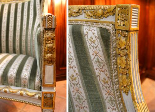 An Elegant 18th Century Italian Louis XVI Parcel-Gilt and Polychrome Boudoir Chair No. 2552