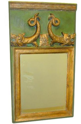 A Diminutive Italian 19th Century Parcel Gilt and Polychrome Rectangular Mirror No. 1659