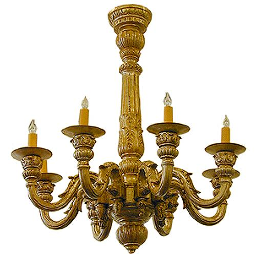An 18th Century Italian Carved Silver Giltwood Chandelier No. 1797