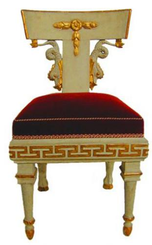 A Rare Set of Six 19th Century Neoclassic Russian Polychrome and Parcel-Gilt Side Chairs No. 1504