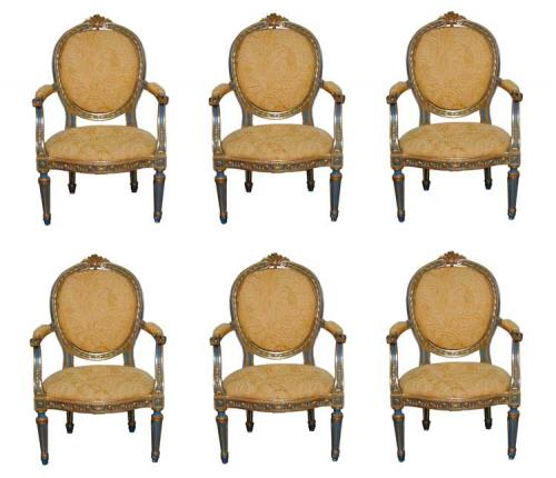 A Set of Six 18th Century Italian Louis XVI Fauteuils No. 1418