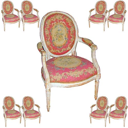 A Rare Set of Eight French Louis XVI Fauteuils à Medallion No. 975