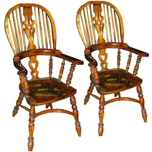 A Pair of 19th Century English Late Georgian Oak & Yew wood Windsor Armchairs No. 2205
