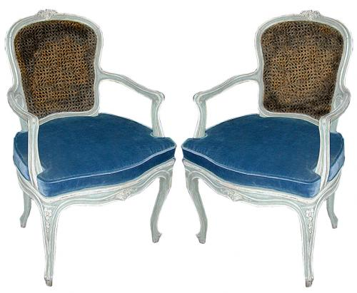 A Pair of 19th Century French Louis XV Style Blue Polychrome Armchairs No. 589