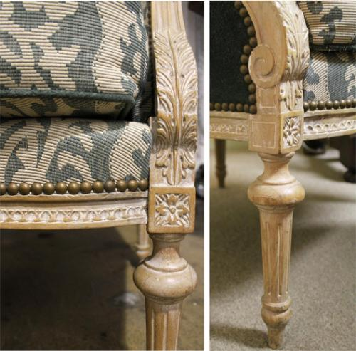 A Fine Pair of 19th century Meuble de Style Louis XVI Carved Bergeres No. 520
