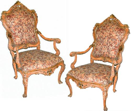 A Pair of Exceptional 18th Century Venetian Salmon Polychrome and Parcel-Gilt Armchairs No. 357