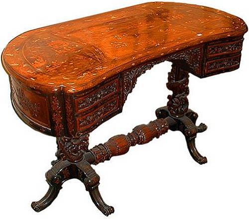A Fine 19th Century Chinese Export Marquetry Kidney-Shaped Desk No. 834