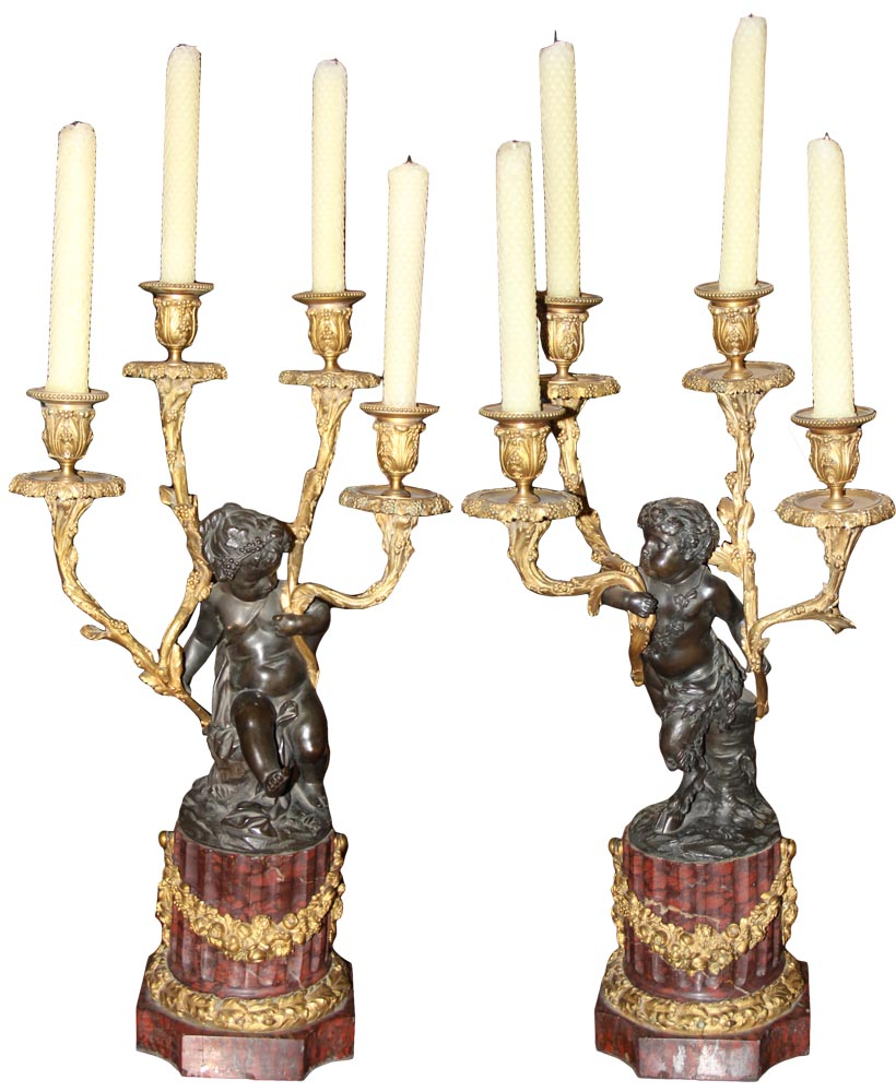 A Pair of Exquisite 19th Century French Louis XVI Gilt-Bronze & Patinated Four-Light Candelabras No. 1014