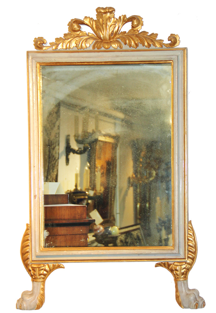 A Fine 18th Century Italian Louis XVI Pale Grey/Green Polychrome and Parcel-Gilt Mirror No. 1072