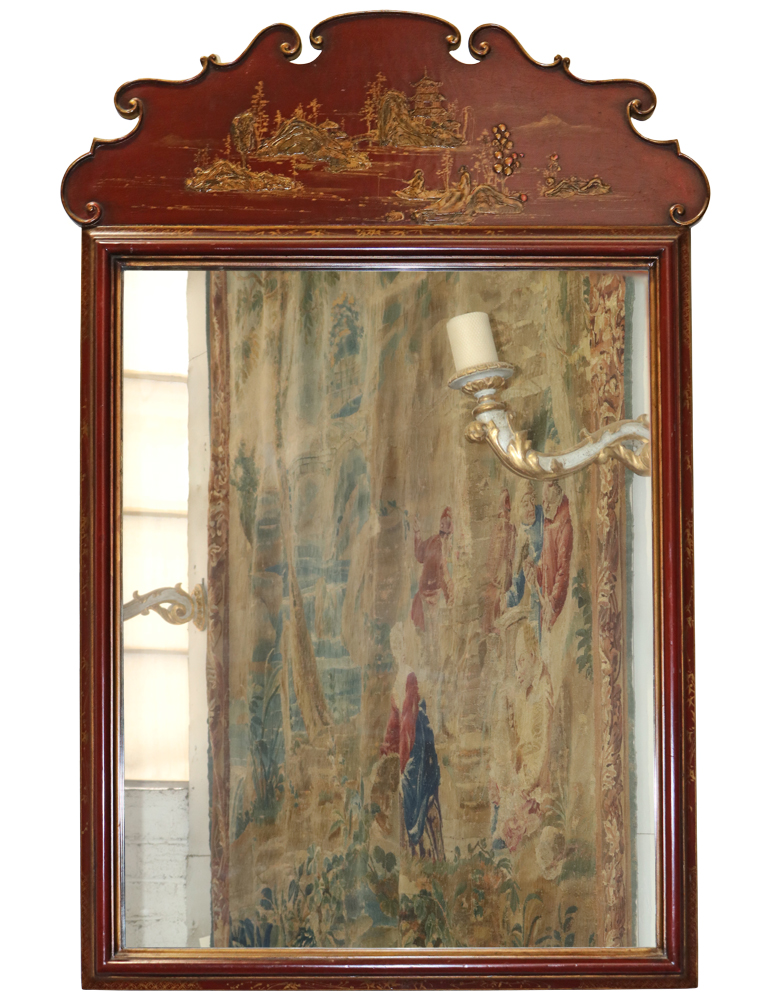 A 19th Century Red Lacquer Chinese Mirror No. 1074