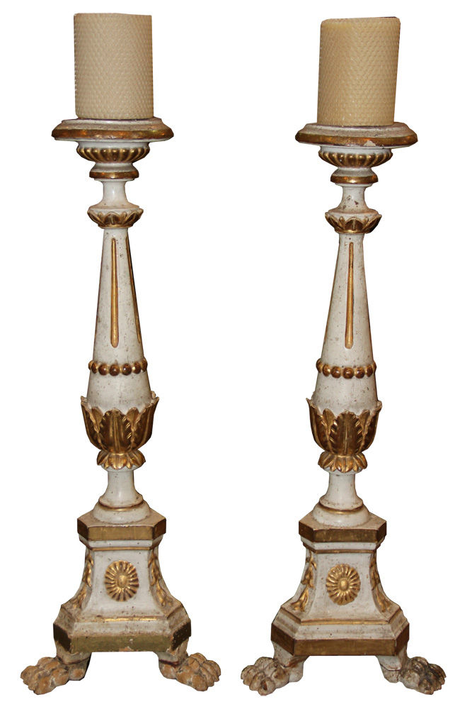 A Pair of 18th Century Italian White Polychrome and Parcel-Gilt Candlesticks No. 1098