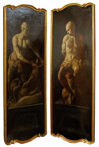 A Haunting and Rare Pair of 17th Century Neoclassical Oil on Canvas En Camaieu Panels No. 2286