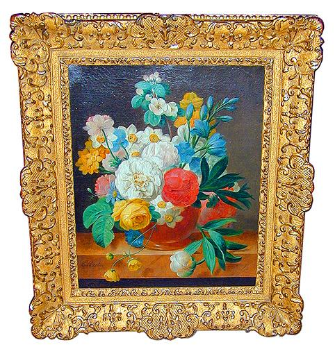 An Exquisite 18th Century Still Life Oil on Canvas signed Eliacet 1872
