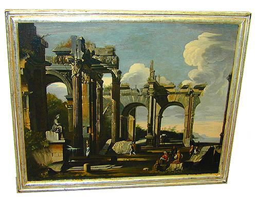 A Fine 18th Century Italian Oil on Canvas, a capriccio of an ancient architectural site No. 1537