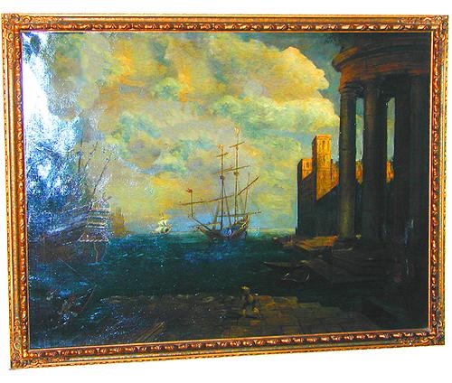 An 18th Century Italian Oil on Canvas, Scenes of Ships in an Italian Harbor No. 1454