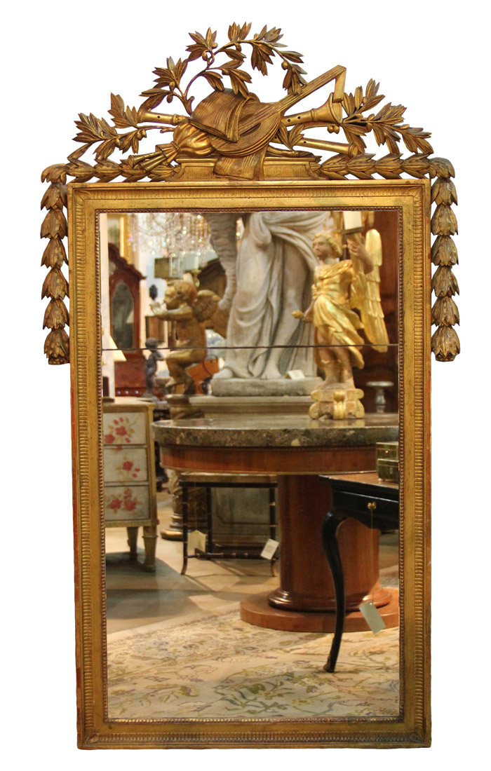 A Dramatic 18th Century French Louis XVI Carved Giltwood Mirror No. 1167