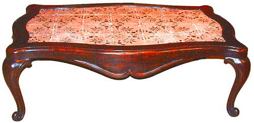 A Bold Italian Noir de Nuit and Pale Rose Mattoni Coffee Table No. 2385