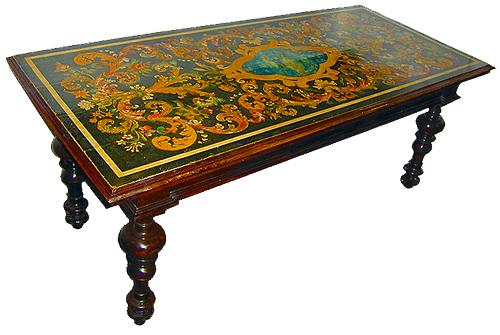An Exquisitely Painted 17th Century Walnut Center Table No. 2134