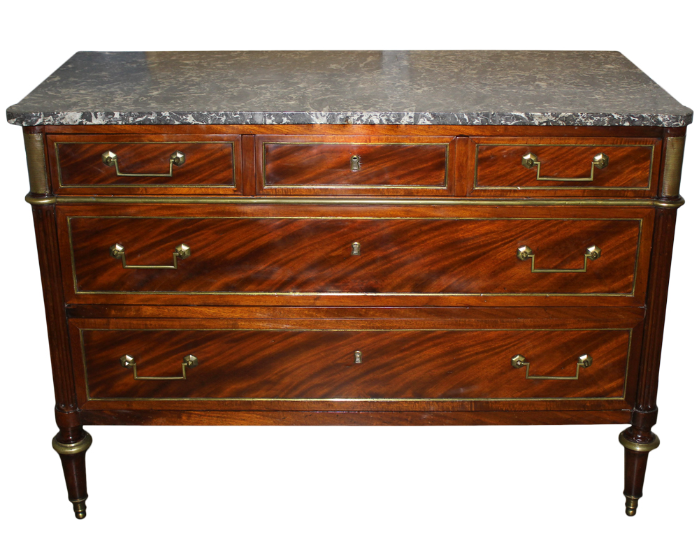 An 18th Century French Louis XVI Brass-Mounted Mahogany Commode No. 1210