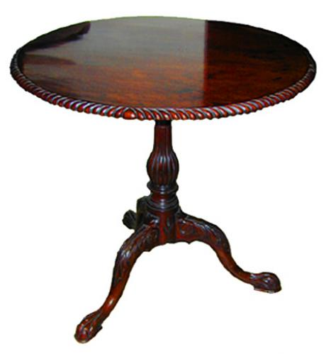 An 18th Century Irish Mahogany Round Tilt-Top Table No. 1296