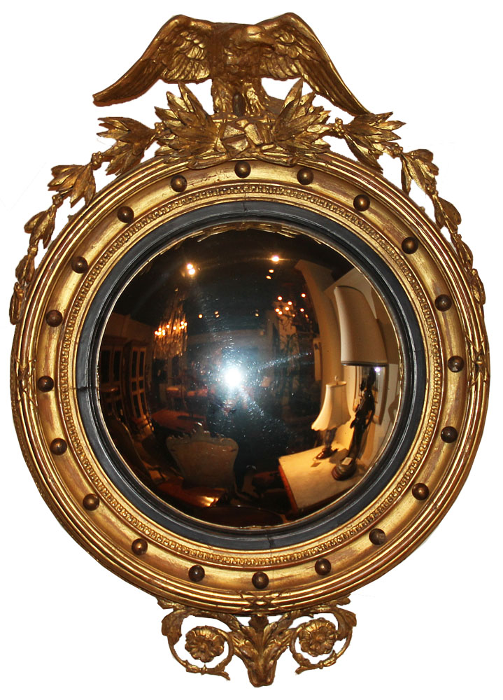 An Early 19th Century English Regency Giltwood Convex Mirror No. 1305