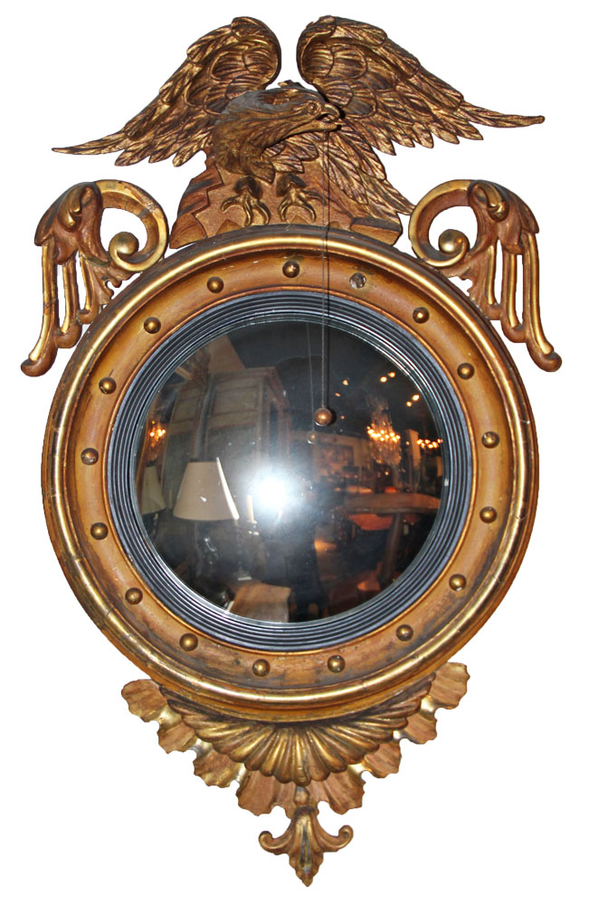 A Fine 19th Century English Giltwood and Ebonized Convex Mirror No. 1314