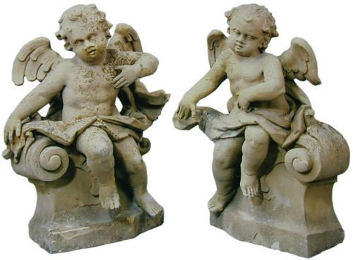 A Pair of 17th Century South German Stone Putti Architectural Elements No. 2000