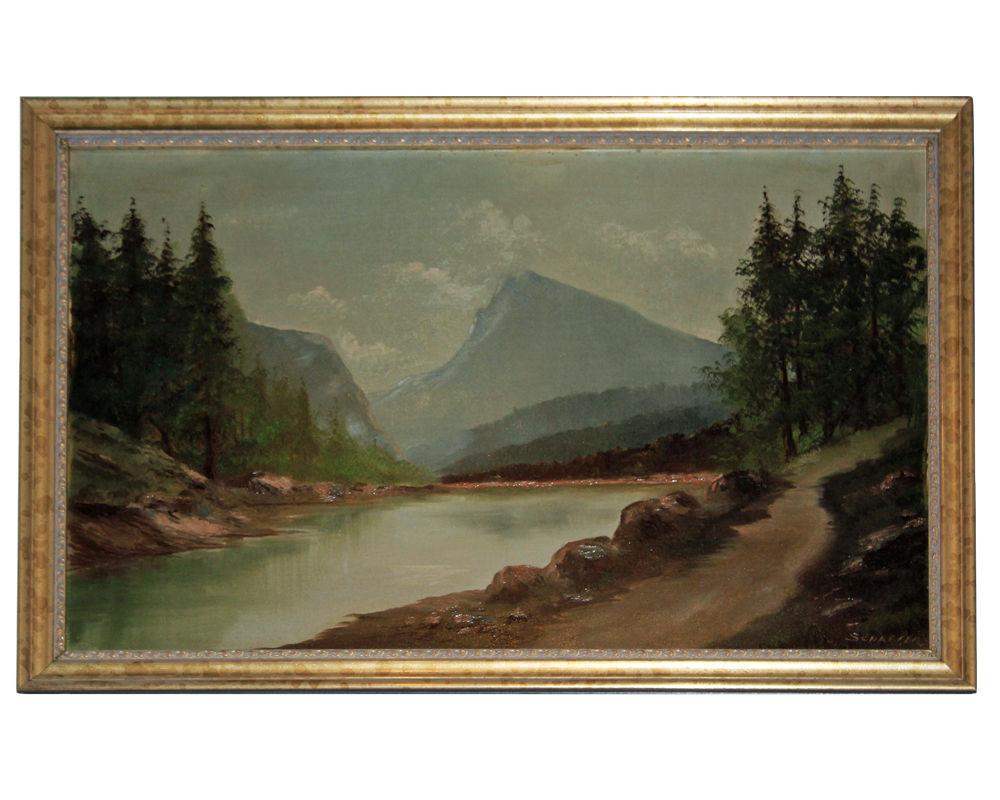 A 19th Century American Oil on Canvas, Landscape with Mountains and Lake, Signed: E. Schaefer, California Artist residing in San Francisco No. 1325