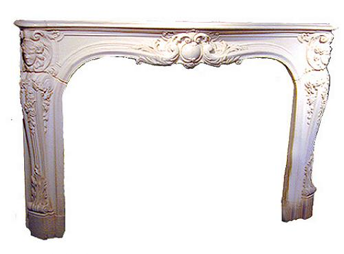 A 19th Century Italian White Carved Marble Mantel and Surround No. 1467