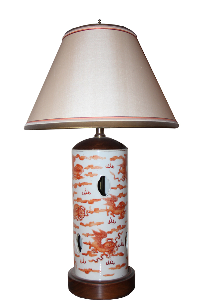A 19th Century Chinese Porcelain Lamp with Fu Dog No. 134