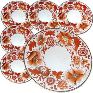 A 19th Century English Set of Six Flight, Barr & Barr Porcelain Plates No. 278