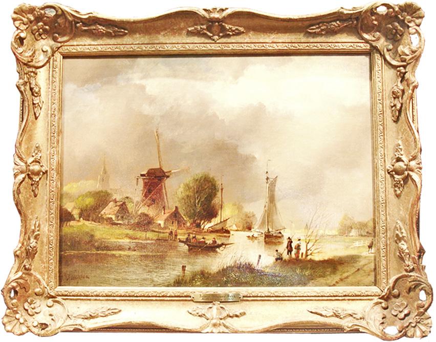 "A 20th Century Dutch Oil on Canvas, Scenes of a ""Dutch Landscape and Windmill"", Signed: Andreas Veldhuysen No. 1371"
