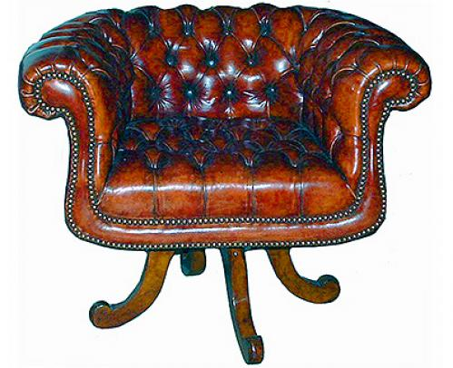 A Handsome Edwardian Chesterfield Swivel Desk Chair No. 2468
