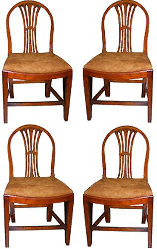 A Set of Four Late 18th Century Hepplewhite Mahogany Side Chairs No. 2607