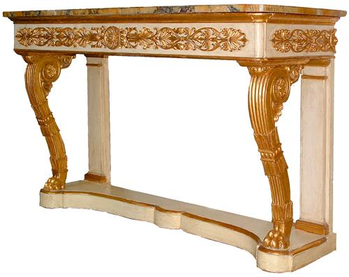 An Impressive 19th Century Parcel-Gilt and Polychrome Italian Empire Console No. 2615