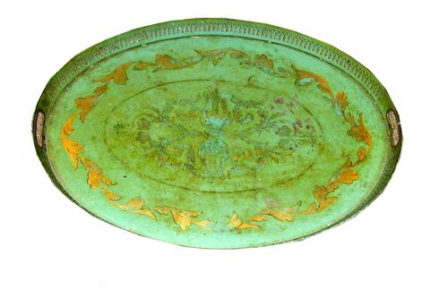 A 19th Century Green Painted Tole Oval Tray No. 384