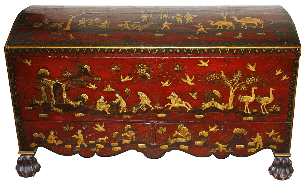 An Exquisite 18th Century English Chinese Export Lacquer & Gilt Chinoiserie Cassone No. 1448