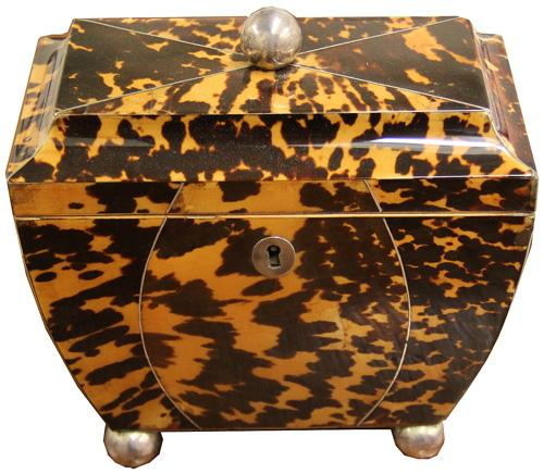 An Unusually Shaped 1820 English Tortoiseshell Tea Caddy No. 2689