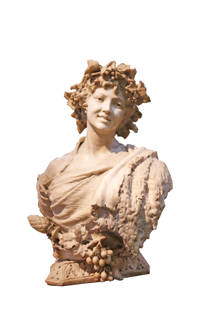 A 19th Century Italian White Marble Bust of Bacchante No. 1473