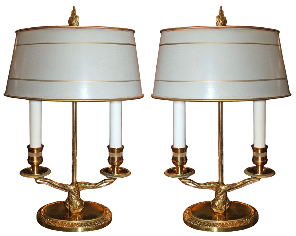 A Pair of 19th Century French Gilt-Bronze Bouillotte Lamps No. 1476
