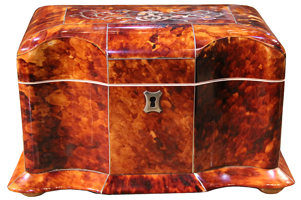 A 19th Century English Regency Tortoiseshell Tea Caddy No. 1484
