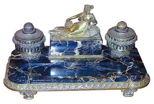 A 19th Century French Black Marble Inkwell No. 754