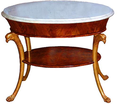 An 18th Century Italian Regency Ovoid and Parcel-Gilt Mahogany Side Table No. 2685