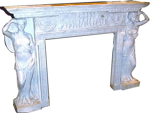 A Finely Carved Italian White Marble Mantel No. 1465