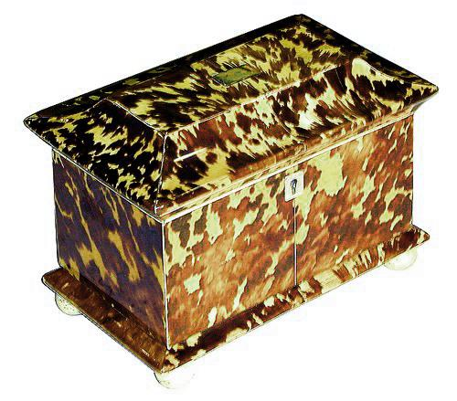 A 19th Century English Regency Tortoiseshell Tea Caddy No. 1233