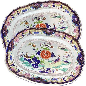 A Pair of Hand-Painted 19th Century Porcelain Serving Plates No. 1184