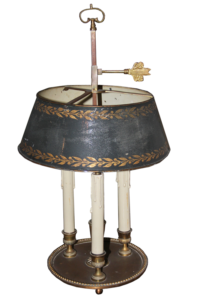 A 19th Century Brass Black Tole Shade Bouillotte Lamp No. 164